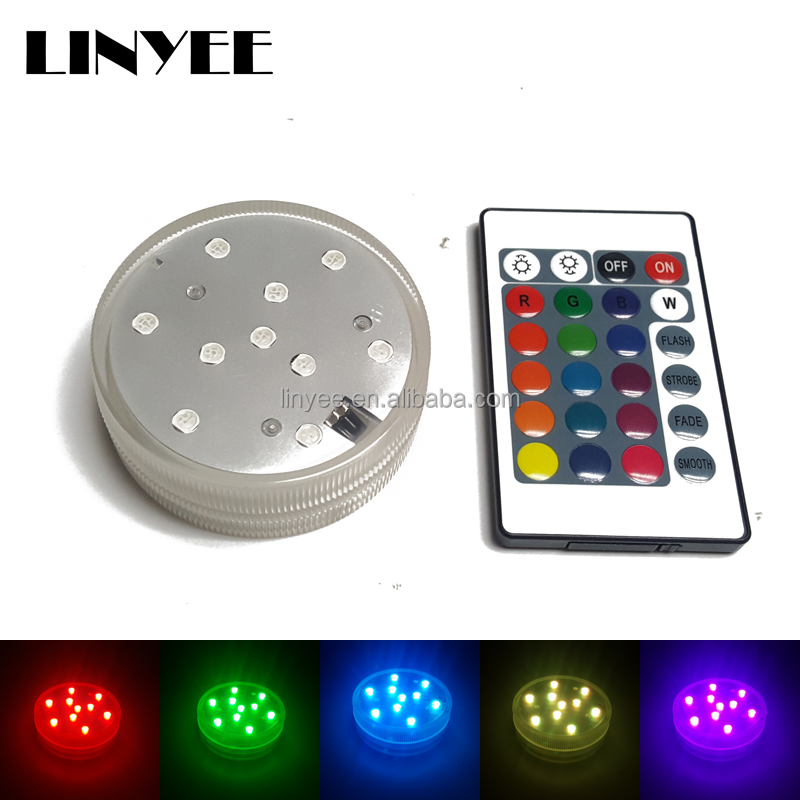 10 LED Multicolor Submersible Waterproof Tea Floralytes Vase Base Light led underwater light for Home Party Decoration