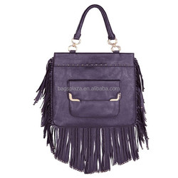 Women's Punk Double Side Tassel Fringe Shoulder Bag with Removable Strap Black