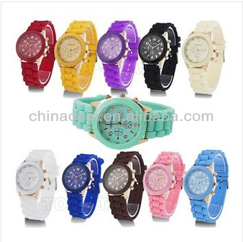 2013 Hot sale New Fashion wristwatches Ladies brand silicone watch jelly watch Geneva quartz watch for women men