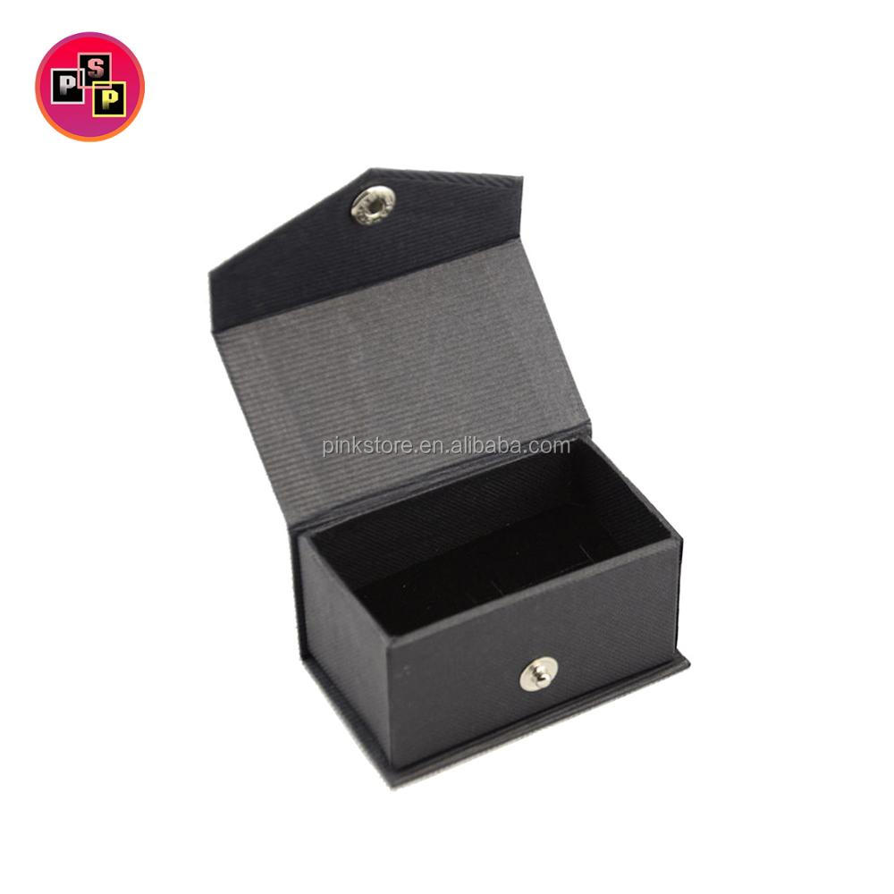 Simple customized small black pu leather cufflink box