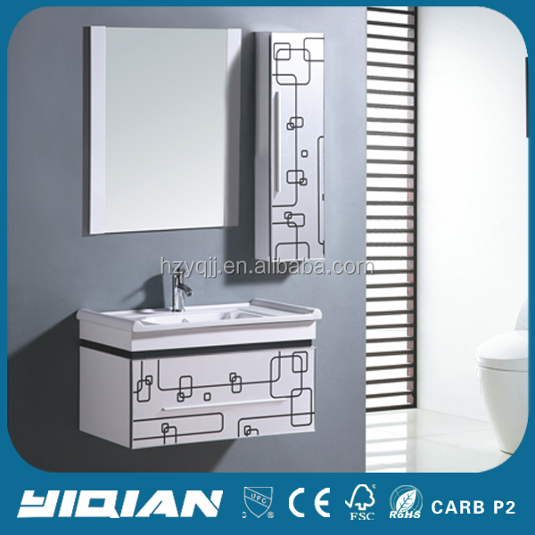 China Cabinet Modern Hanging Paint Mirrored PVC Waterproof Bathroom Cabinets