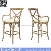 Cross Back Antique Solid Wood Bar Chair RQ21352-2