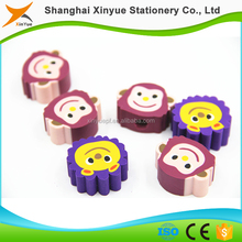 Promotional Bulk Color Animal Lion Monkey Head Eraser chinerse stationery school stationery