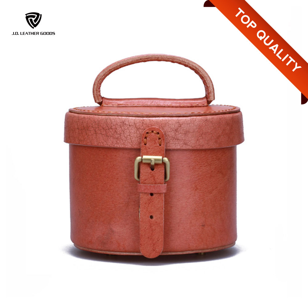 Round Leather Cosmetic Bag Of Latest Design Ladies Handbag/Leather Jewelry Box