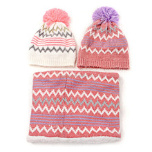2pcs set high quality soft stretch cable CUTE knit Pompom beanie hat with infinity scarf set for lady girls ,women and kids