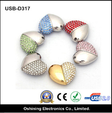 2015 promotional sweet lovely crystal bling heart shape flash memory USB flash drive to girl friend, friends, family (USB-D317)