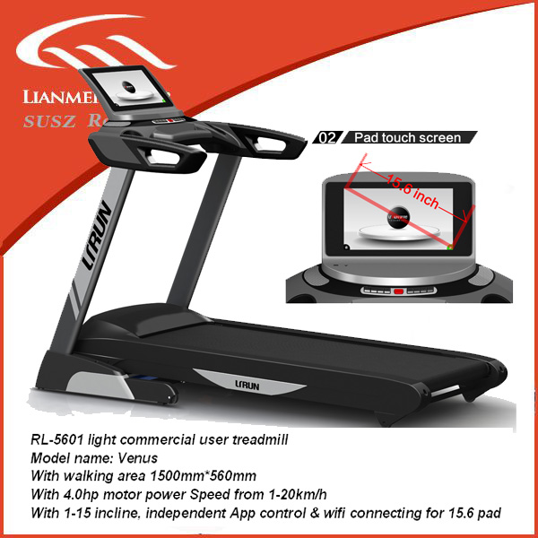 2016 new deluze fitness equipment commercial trademill with TV with USB Audio Port