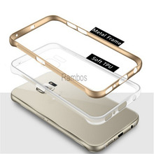 6 Plus Hybrid Case Soft Clear Back Cover + Aluminum Metal Bumper Phone Case for iphone 6 / 6 Plus / 5 / 5s / 4/ 4s for Samsung