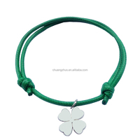 New fashion wax cotton rope scalable bracelet with a snowflake pendant