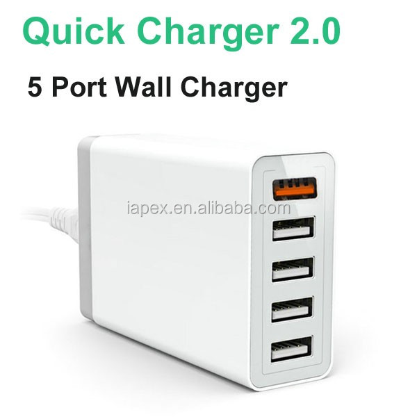 New products mobile phone accessories 5 Port QC2.0 USB wall Charger