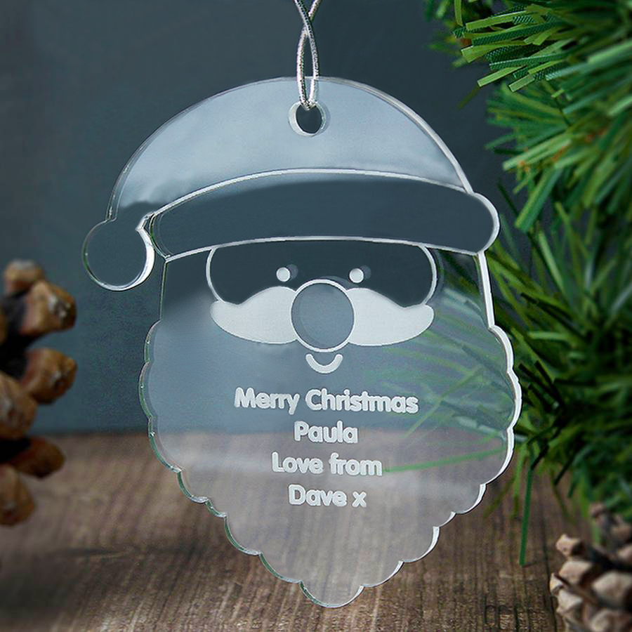 Custom Clear Acrylic Santa Christmas Tree Ornaments