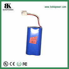 li ion battery 18650 7.4v 2000mah battery pack with custom design and MSDS.