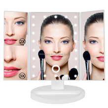 Dimmable Trifold LED Makeup Mirror desktop Vanity Mirror USB / Battery Power Lighted Cosmetic Mirror