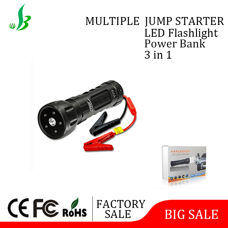 400A/12V peak portable motorcycle jump starter with LED light