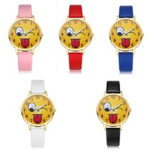 In Stock 9 Colors QQ Emoji Cute Emoji Fashion Leather Watch Yellow Minute Surface Fashion PU Women Wrist Emoji Watch