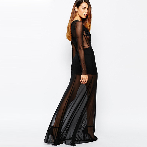 Private Label Black transparent Sexy Long Sleeve Evening Dress