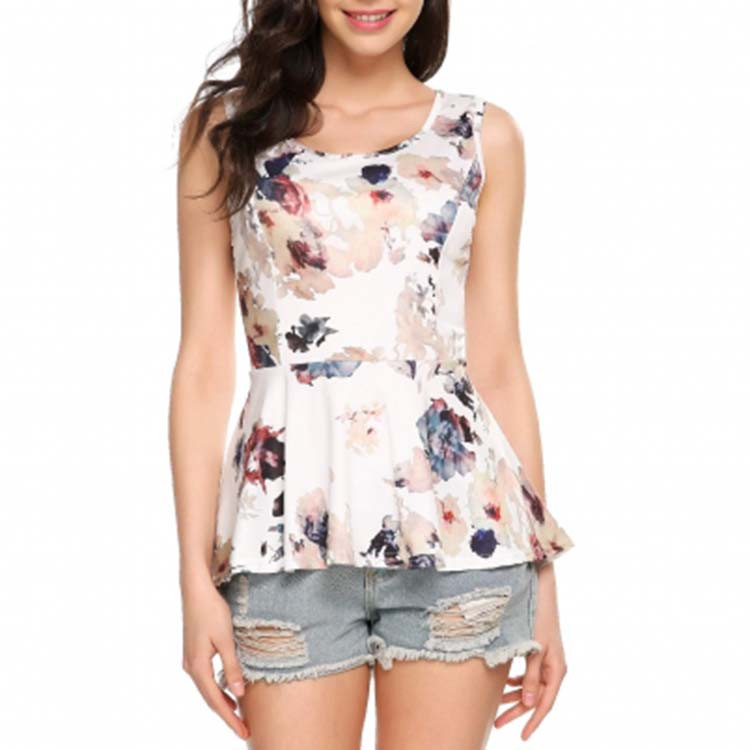 Wholesale Women Clothing Floral Print Open Side Tnak Top Peplum Top Asymmetrical Hem Tank Top Dress
