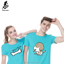 High quality sweet style couples custom printed t shirts
