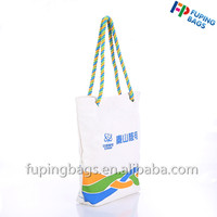 High quality custom 12oz cotton handle beach bag canvas tote bag with rope