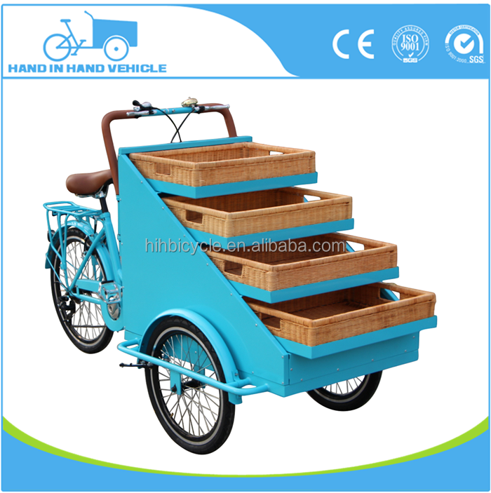 New 3 wheel electric food transport vehicle with rattan plaited basket for vending