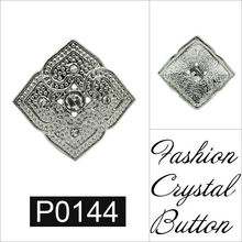 P0144 J&M Silver plated crystal four heart button