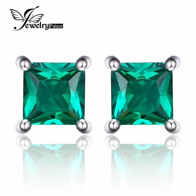 JewelryPalace Square 0.6ct Created Created Russian Nano Emerald 925 Sterling Silver Stud Earrings For Women Fashion Fine Jewelry