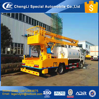 CLW multiple function 1500 liters 1.5 cbm watering cart water tank truck with12m 14m aerial work platform for environment green