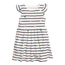 kids dress design collection online shop stores girls striped dresses with flutter sleeves white kids girlswear short outfit