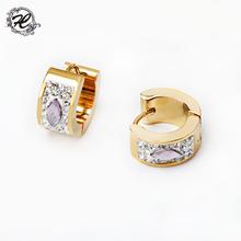 stainless steel stud diamond gold earring designs for girls fashion gold earring