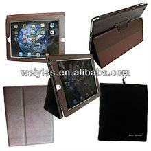 Genuine Leather Case for iPad 2 / for iPad 3 (for the new ipad) with 3-in-1 built-in Stand - Support Smart Cover Function(Brown)