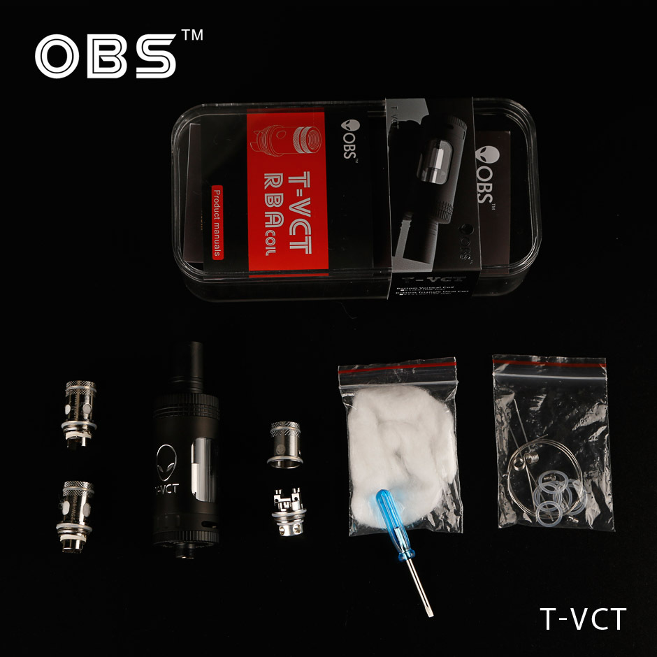 2015 Unique design OBS t-vct sub ohm tank the first top filling T-VCT Sub ohm tank with 10-50W /0.25/0.5ohm coils