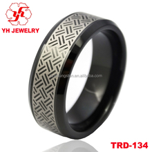 2016 New Design Edge Shaved 'Bamboo Weaving Lines' Lasered Men's Black Tungsten Ring For Engagement Wedding