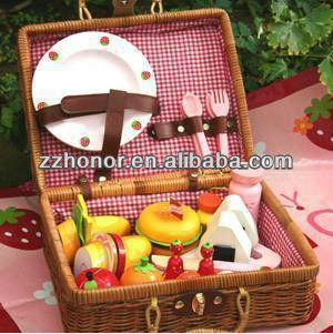 Mother garden wooden toys, pinic fruit basket wooden toys