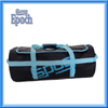 Promotional black gym duffel bag with sky blue strap