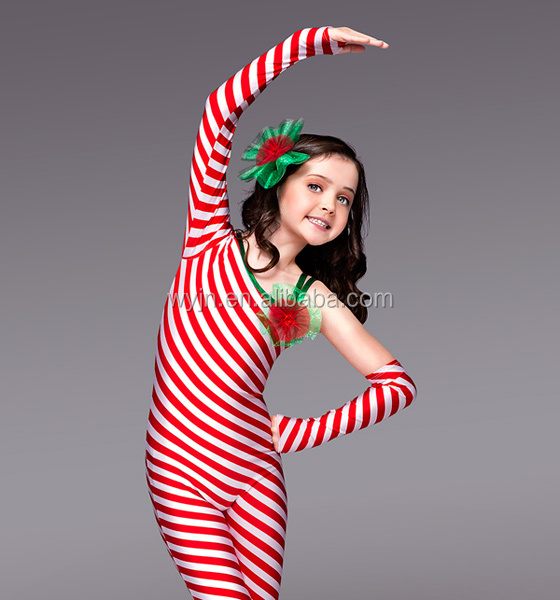 Sugary red and white striped practice wear- one long sleeve christamas dancing western wear