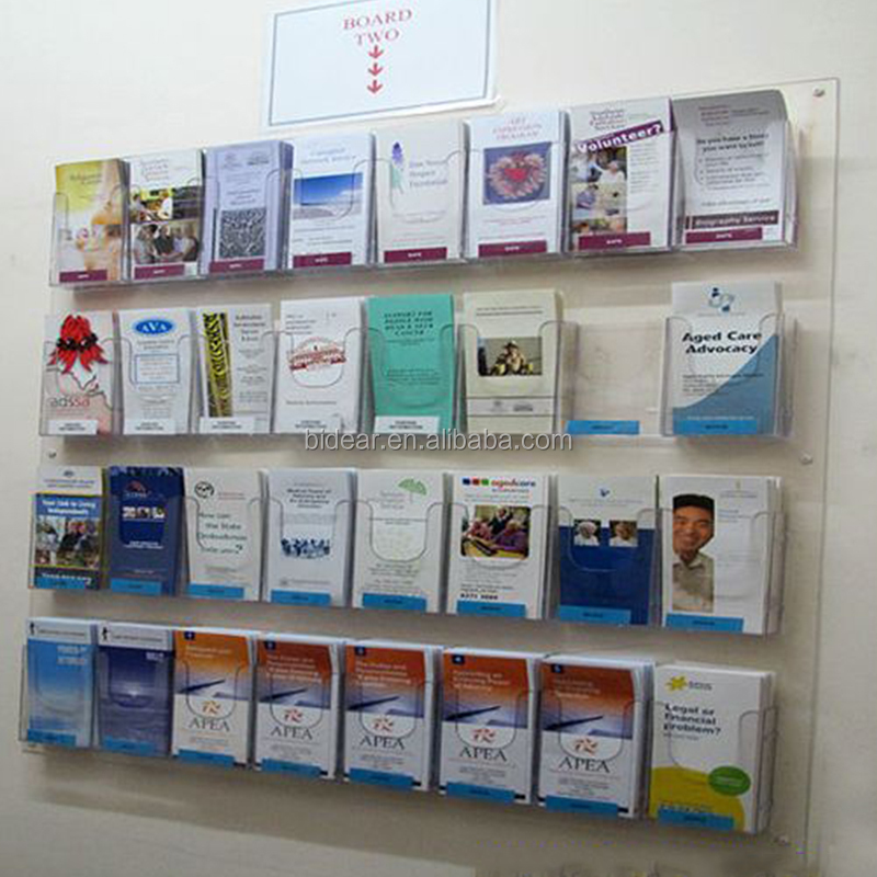 Customized Acrylic Clear Wall Mounted Brochure Display Shelf Brochure Rack