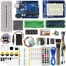 Funduino UNO R3 Starter Kit with Step Motor /Servo/ 1602 LCD/ Breadboard/ jumper Wire for Arduinos