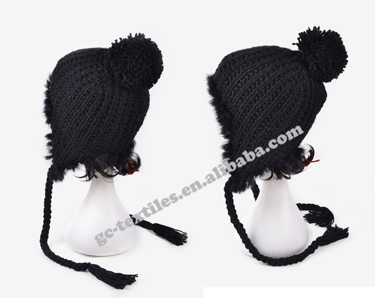 new product for 2014 Wholesale china manufacture OEM CUSTOM LOGO ear protection winter warm women acrylic beanie hat and cap