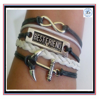 Fashion Best friend infinity anchor bracelet gray and white colors