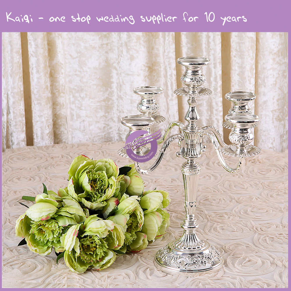 Candle Holder 5 Arms 5 Light Crystal Brass Silver Candelabra