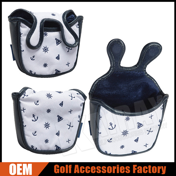OEM Marin pattern Golf Mallet Putter Headcover, Magnetic 2 Ball Putter Covers