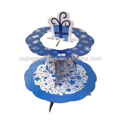 elegant decorative paper folding 2 layer offset floating cupcake cake stand