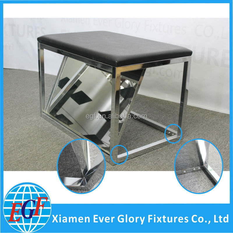 High Quality Shoe Fitting Comfortable Black Padded Seat with Mirror Chrome Plate Metal Bench