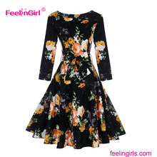Floral Pringted Black Cinderella Bangkok Dress elegant long sleeve evening dresses