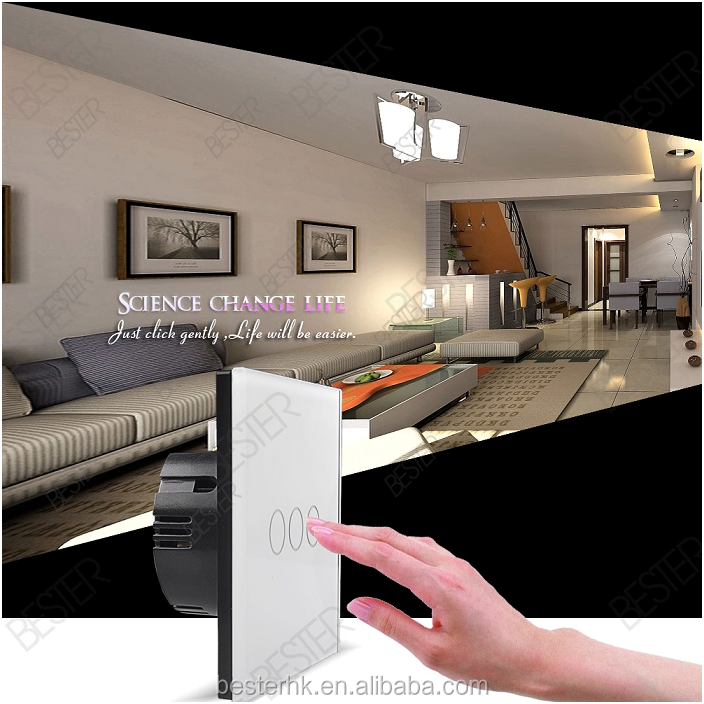 3 gang 1way led touch screen wall switch,touch switch crystal glass panel