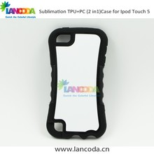 TPU+PC 2 in 1 sublimation case phone for ipod touch5 with aluminium insert