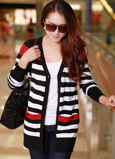 D51203J 2014 European style fashion stripe long sleeve women's cardigan,sweaters