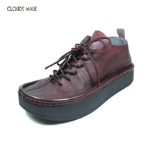 Handmade Genuine Leather Casual Ladies Shoes Chunky Style Platform Flat Outsole Shoes Girls Guangzhou Shoe Factory