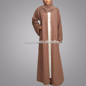 Guangzhou clothing OEM Gold pearl detailing Pop up button Taupe Open Jacket Abaya