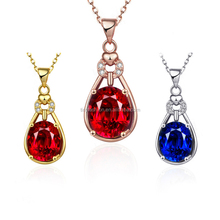 Wholesale White Gold/Rose Gold/Gold Option Fashion Zircon Garnet Crystal Pendant Necklace
